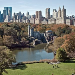 Jacqueline Kennedy Onassis Reservoir in Central Park with the New York skyline in the background on a bright sunny day