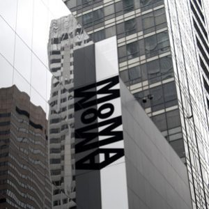 The exterior signage of The Museum of Modern Art, more commonly known as MoMA.