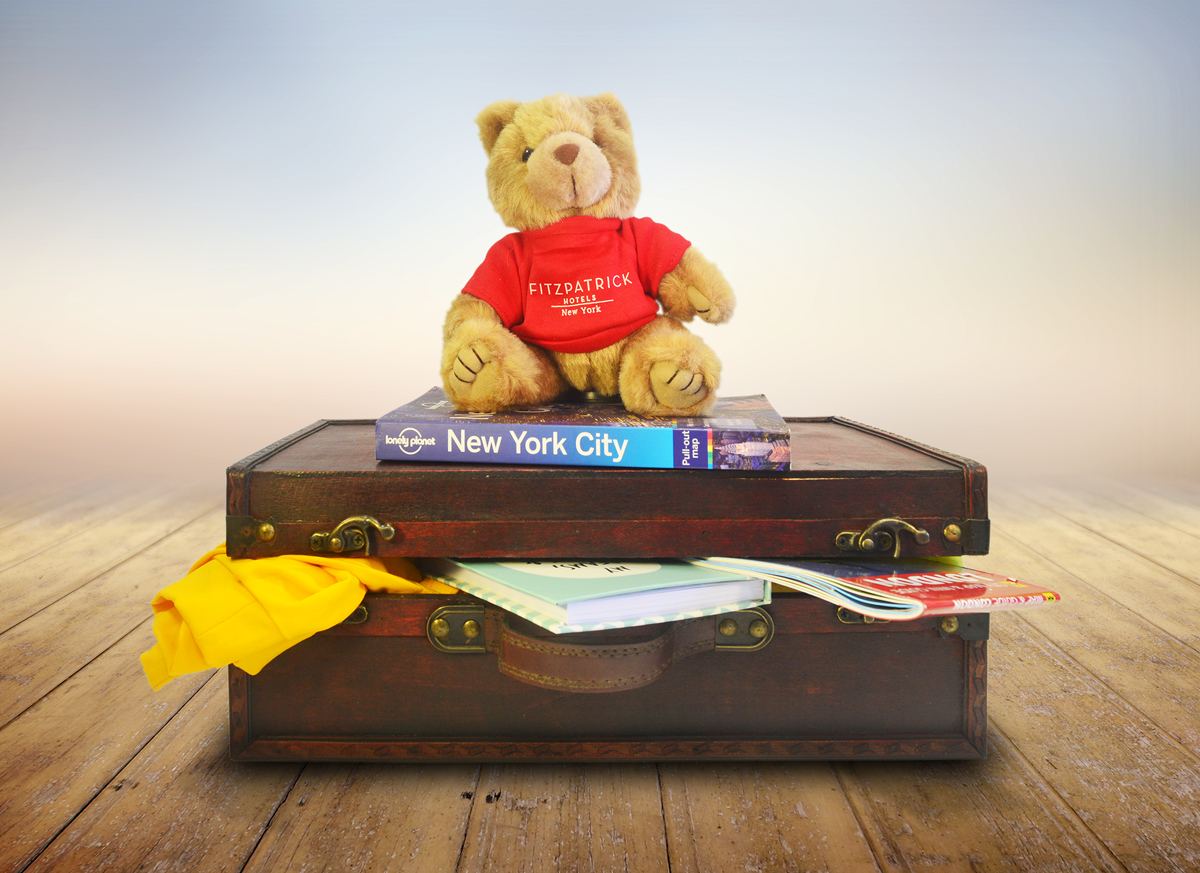 Teddy bear Teddy Fits with red Fitzpatrick Hotels New York sweater on NewYork map and suitcase