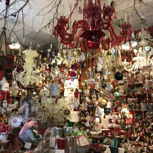 More & More Antiques transforms from an Antique Store with Christmas decorations from ceiling to floor