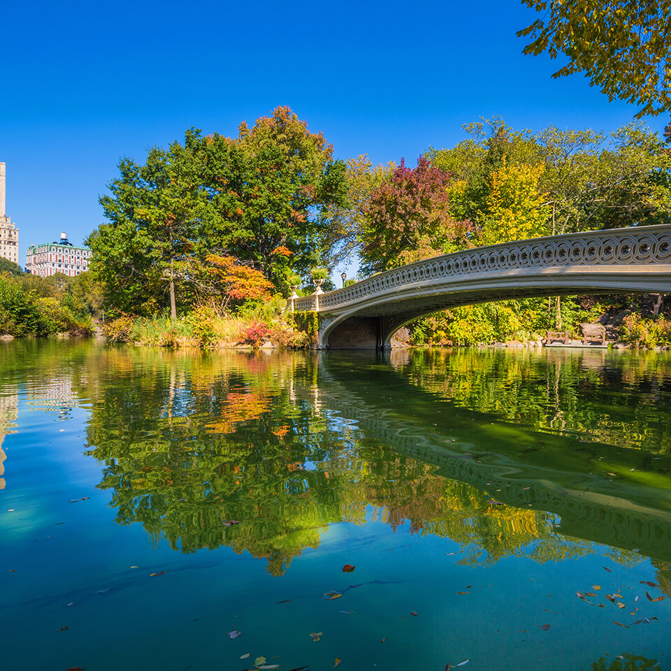 Gapstow Bridge in Central Park on a bright sunny day