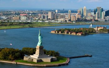 View of the Statue of Liberty on Liberty Island in New York Harbor in New York