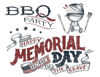Memorial day celebration with illustrated barbecue and American flag
