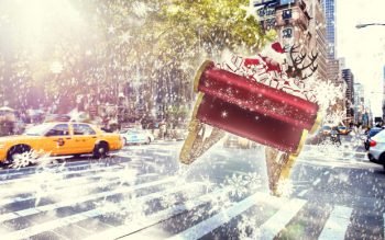 illustration of the back of Santas sleigh filled with presents in the streets of New York