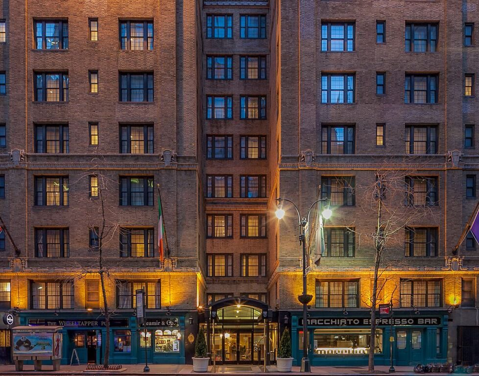 The exterior of Fitzpatrick Grand Central at night time.