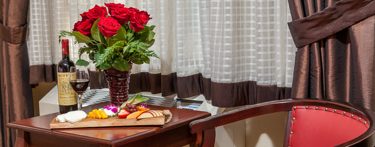 Deluxe rooms also feature a work desk and private bath with upgraded amenities.