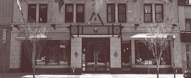 The exterior of Fitzpatrick Manhattan in sepia