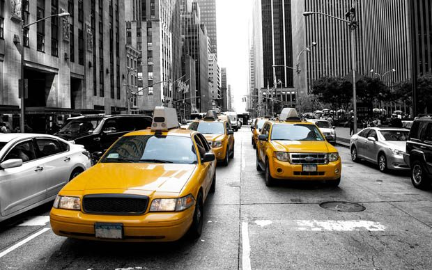 New York yellow cabs on grey New York street