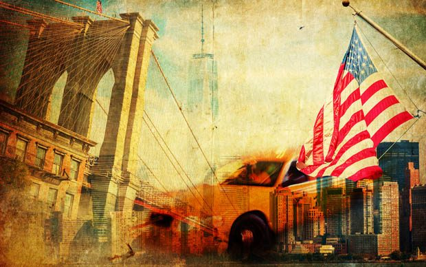 Abstract painting of New York yellow cab imposed over the Manhattan bridge, skyscrapers and the American flag