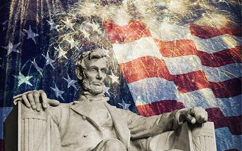 Abraham Lincoln statue superimposed over fireworks and American flag