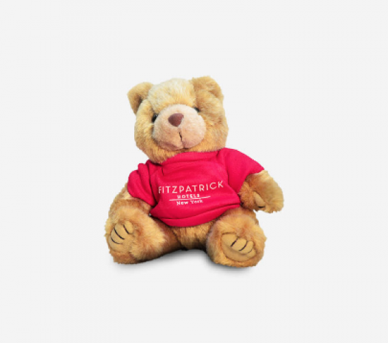 Teddy bear Teddy Fits with red Fitzpatrick Hotels New York sweater on white background