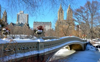 Central Park Gapstow bridge decorated with snow and icy water below.
