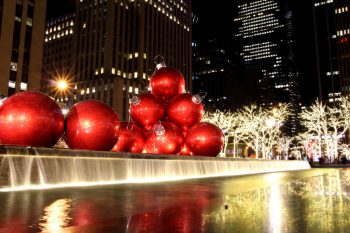 Large decorative baubles on the streets of New York