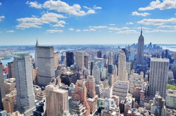 Aerial view of New York high-rises on a sunny