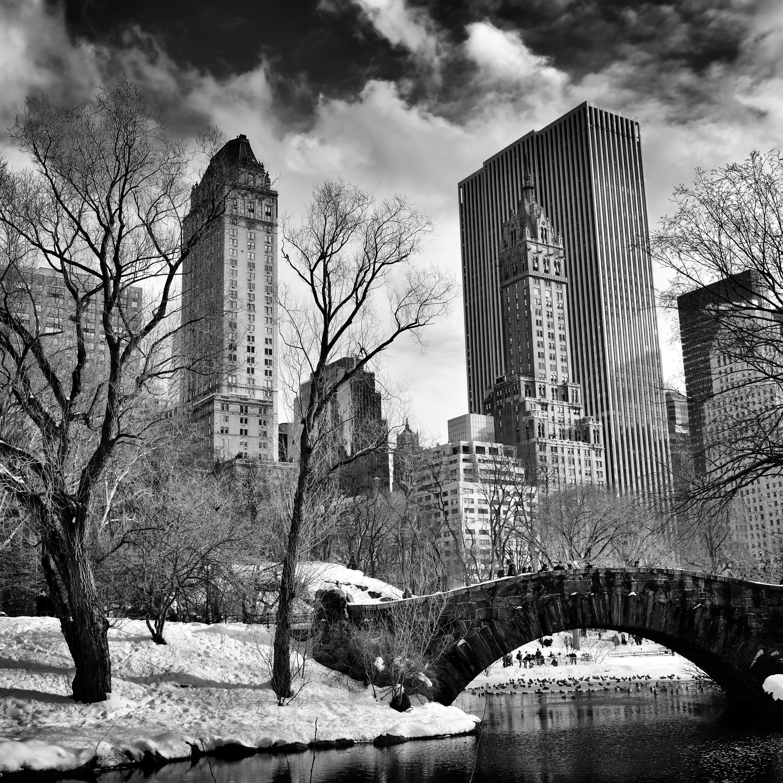 Black and white Gapstow Bridge in Central Park