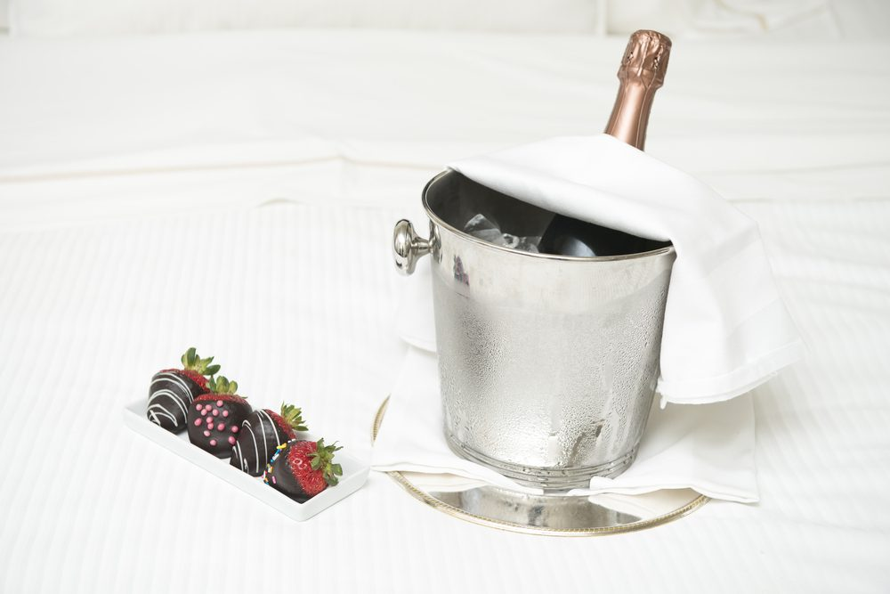 Champagne and Strawberries covered with chocolate