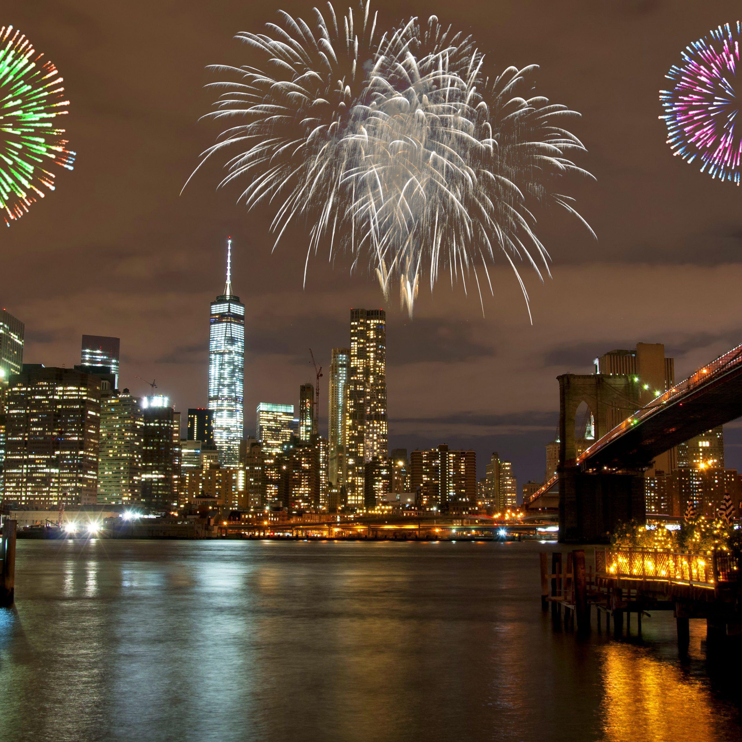 Fireworks above New York skyline