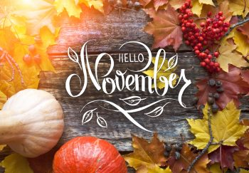Auntumn leaves, berries and pumpkins with Hello November text